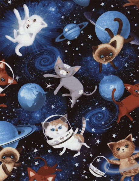 Black fabric with cat in space dot by timeless treasures for Space cat fabric