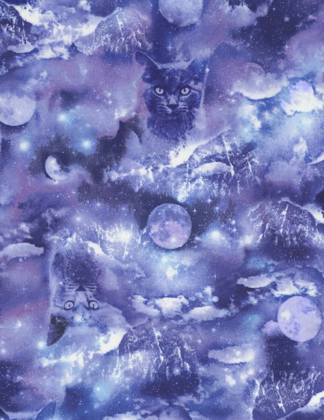 Blue purple fabric with cat space moon by timeless for Space cat fabric