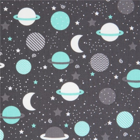 Dark grey robert kaufman fabric adorable planet space for Space inspired fabric