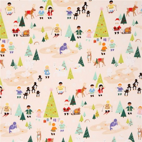 beige Silly Chilly Christmas Xmas fabric Alexander Henry - Kawaii ...