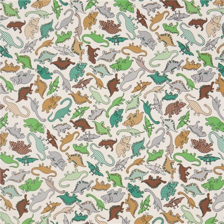 Natural color with cute brown grey green dinosaur oxford for Grey dinosaur fabric